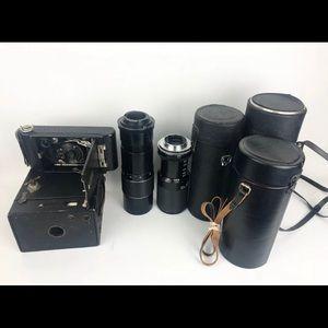KODAK Lot of Vintage Camera, Lens Cases and Parts